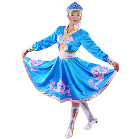 Ethnic garment Mongolia nationality clothing costumes Mongolia stage performance dance stage performance wear Free shipping Pakistan
