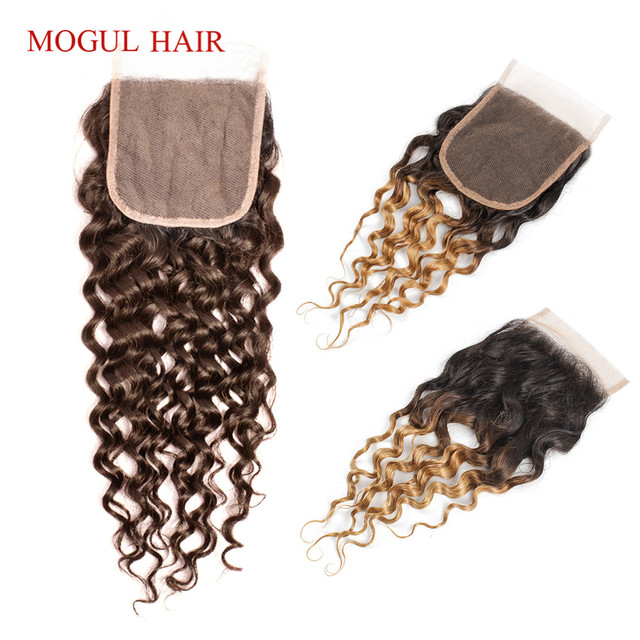 MOGUL HAIR Water Wave Hair Dark Brown Lace Closure 1B 27 Ombre Honey Blonde Color 8 20 inch Remy Human Hair Closure