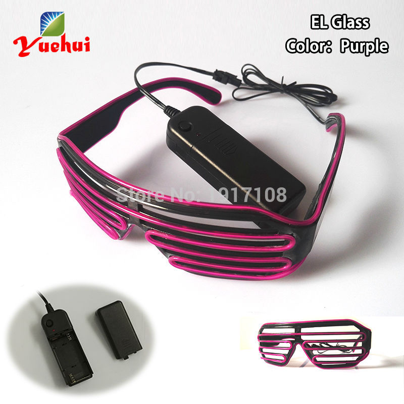 2017 NEW Attractive LED shutter Glasses Luminous Colorful Glowing EL wire Glasses With Flashing driverFor Dance Party Decoration