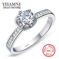 GALAXY Women 925 Sterling Silver Ring Fin Jewelry With S925 Stamp 6mm 1 Carat Simulated Diamond