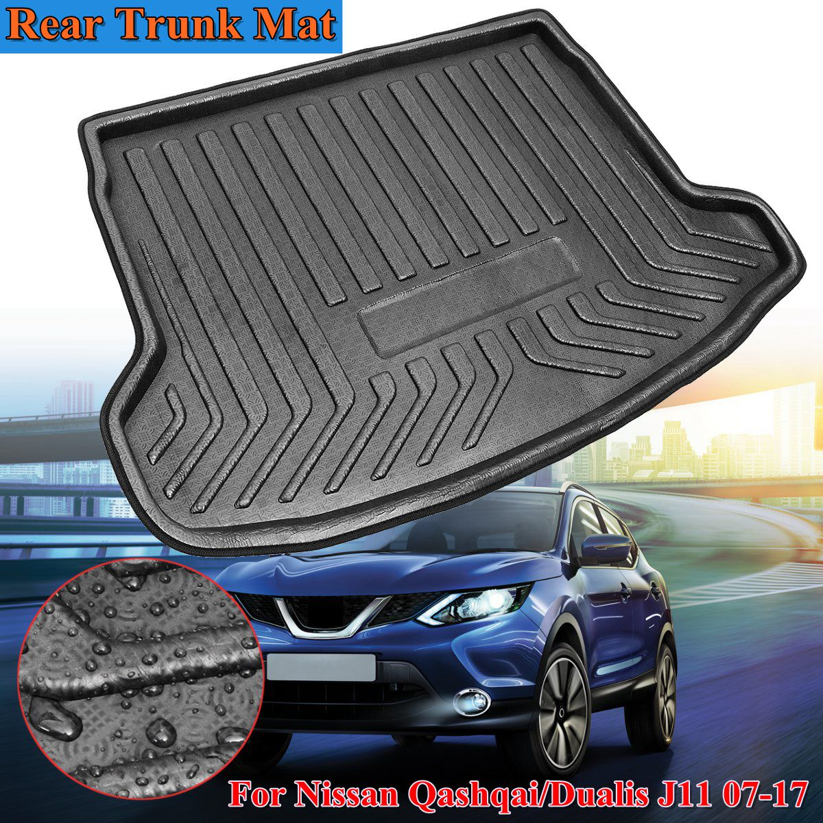 Rear Cargo Boot Liner Trunk Floor Mat Tray Carpet Mats Mud Kick For Nissan Qashqai / for Dualis J11 2007 2008 2009 2010 11 2018