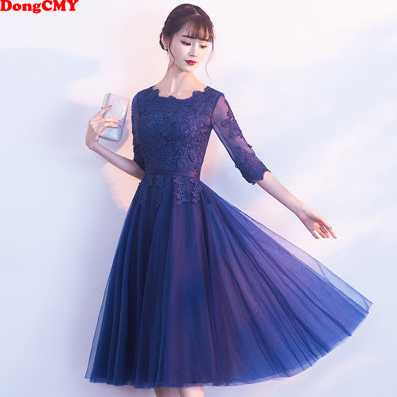 DongCMY 2019 New Arrival Short Lace Sexy   Prom     Dresses   Half Sleeve Vestidos Evening Party Gowns