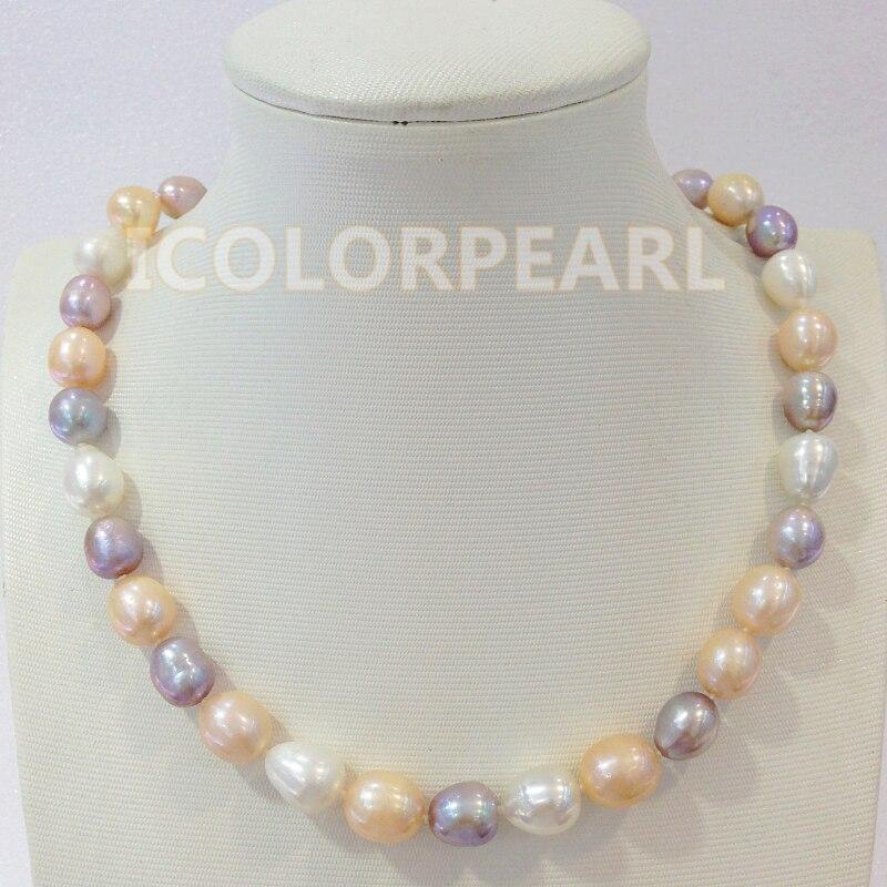 WEICOLOR meilleur cadeau pour les mères! Collier de bijoux en perles d'eau douce naturelles multicolores 10-12mm (43-46 cm)