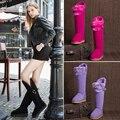 STARFARM sapatos mulheres ugs austrália ovelhas de lã genuíno couro de alta joelho botas de neve do inverno da pele mulher senhoras SFWB039