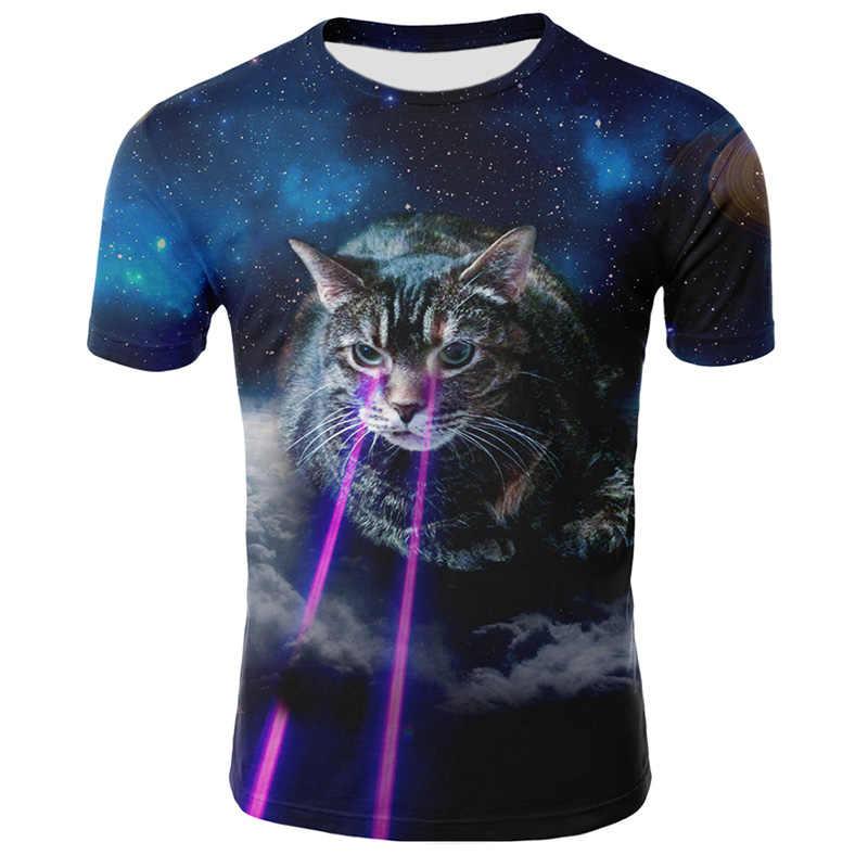 ผู้ชาย 2019 ฤดูร้อน Lion 3D เสื้อยืดแฟชั่นผู้ชายพิมพ์สัตว์เสื้อยืดผู้ชาย Casual Cat Tee แขนสั้นเสื้อ Homme 4XL