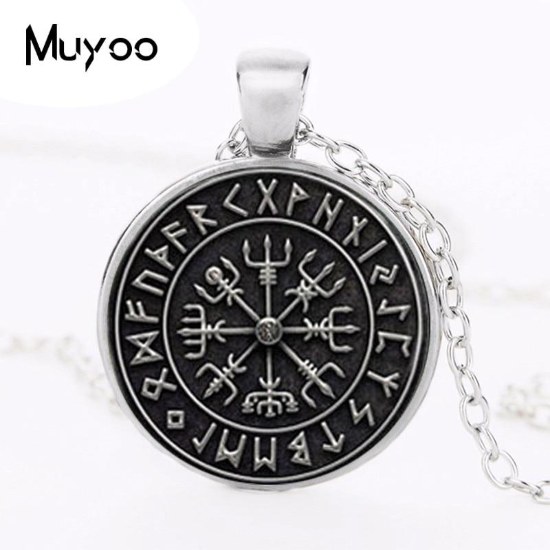 1pcs Vegvisir Viking Compass pendant jewelry Glass Cabochon Necklace HZ1 2