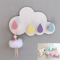 Nordic Creative Home Key Hook Hanger Wood Clouds Raindrop Water Droplets Baby Kids Room Nursery Clothing Store Wall Decoration
