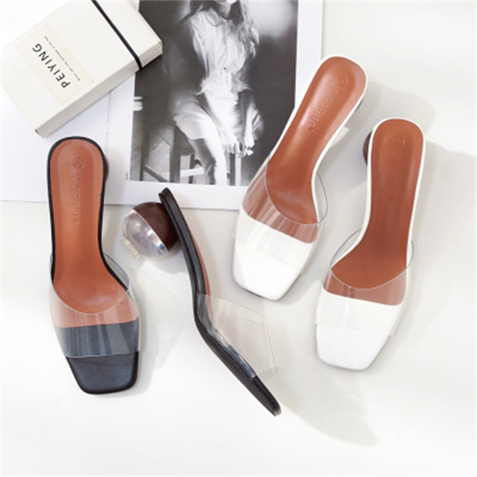 2019 Summer Women 39 s Slippers Fashion Transparent Material Round High Heel Sandals Sexy Open Toe Women Slippers in Slippers from Shoes