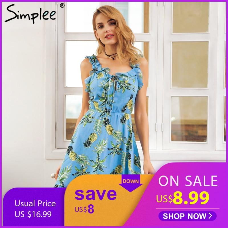 Simplee Fashion ruffle neck strap print dress women Backless shirred tie up  mini dress Beach casual 005f2033d85