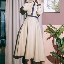 Высокое качество Горячая Распродажа Мода Осень Зима Новое поступление Питер Пэн воротник цвет блок Collest Талия женское длинное платье