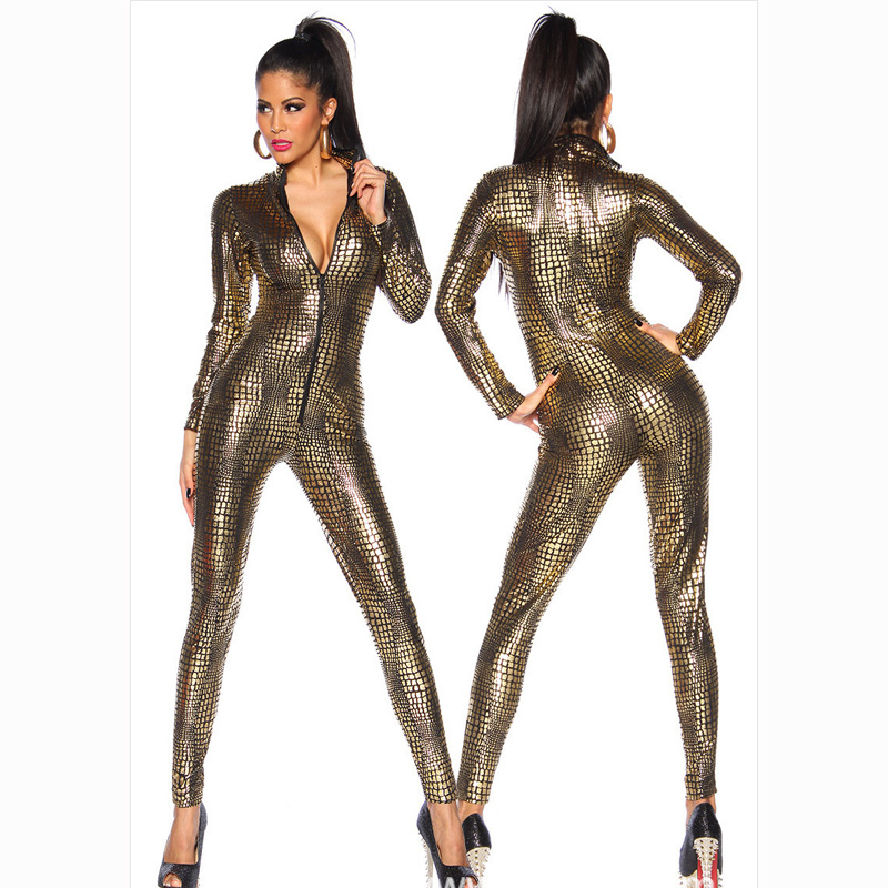 Women's Sexy Snake Print Faux Leather Latex Catsuit Costumes Zipper Front For Clubwear Stripper Halloween Party Fancy Dress