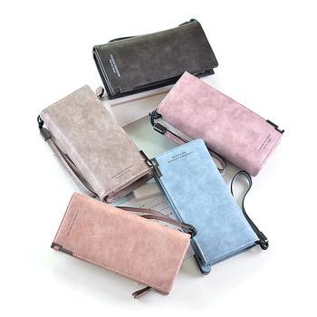 8PCS / LOT Top Quality Fashion Women Wallet Vintage Long PU Leather Wallet Female Clutch Coin Purse