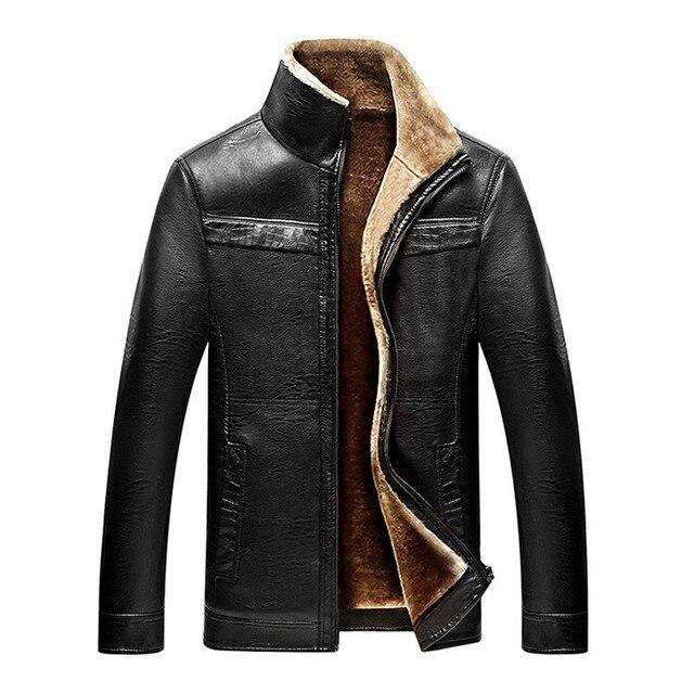 b30f8221453ea Męska płaszcz zimowy Mężczyzn dorywczo grube velet warm kurtki skórzane  męskie kurtki i płaszcze zimowe futro