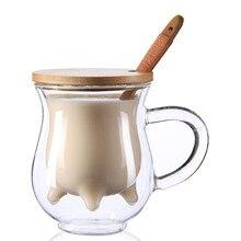 Creativo capas dobles Tazas de cristal taza de leche con una cuchara tazas con tapa para el café de bambú resistente al calor y agua 230 ml