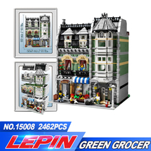 DHL LEPIN 15008 unids envío gratuito 2462 City Street Creator Green Grocer Model Building Kits bloques Compatible legoed 10185