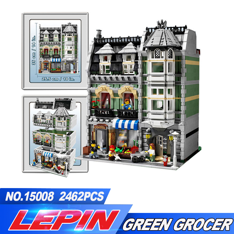 NEW LEPIN 2462Pcs free shipping 15008 City Street Creator Green Grocer Model Building Kits Blocks Bricks Compatible 10185 lepin 15008 new city street green grocer model building blocks bricks toy for child boy gift compatitive funny kit 10185 2462pcs
