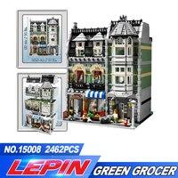 NEW LEPIN 2462Pcs Free Shipping 15008 City Street Creator Green Grocer Model Building Kits Blocks Bricks
