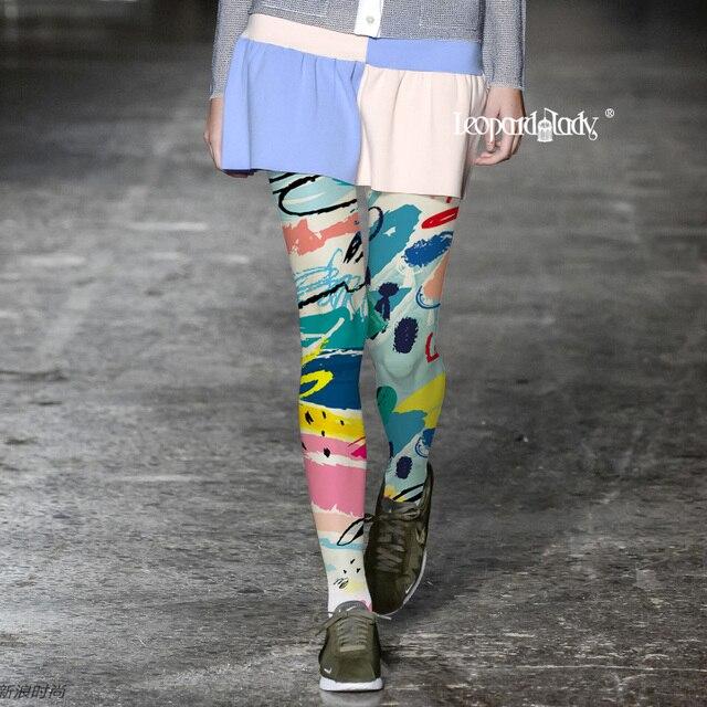 Medias Pantis Woman Stockings European And American Fashion Pantyhose Women Trend Printing Color For Graffiti Tide Brand Tights