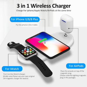 Image 2 - !ACCEZZ 10W 7.5 QI Fast Wireless Charger 3 in 1 For iphone 8 Plus X XS For AirPods For Samsung S7 S8 S9 Universal Phone Chargers