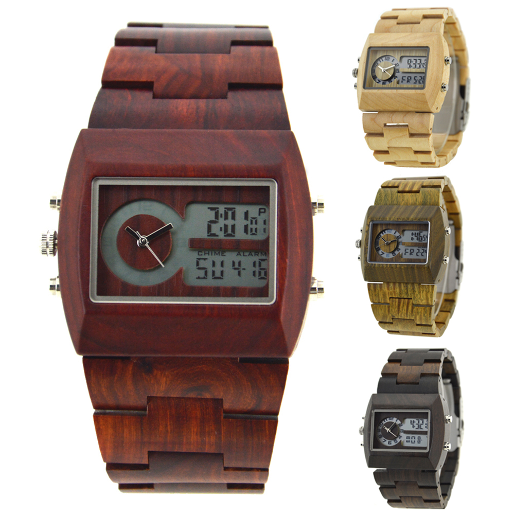 f6ef7e83e40 BEWELL Wood Watch Men Multifunctional electronics mens watches top brand  luxury relogio masculino No LOGO horloges mannen Gift-in Quartz Watches  from ...