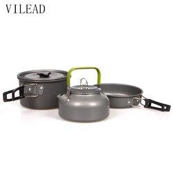 Портативный чайник VILEAD, набор кастрюль из алюминиевого сплава для кемпинга, посуда, посуда, 3 шт./компл., инструмент для приготовления пищи, п...