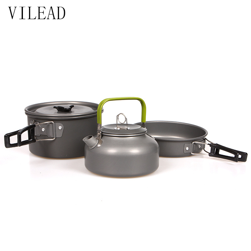 VILEAD Portable Camping Pot Pan Kettle Set Aluminium Alloy Utendørs Bordsutstyr Cookware 3pcs / Sett Tekanne Cooking Tool for Picnic BBQ