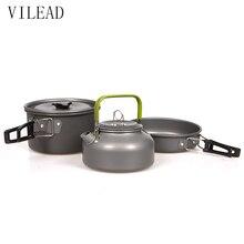 VILEAD Portable Camping Pot Pan Kettle Set Aluminum Alloy Outdoor Tableware Cookware 3pcs/Set Teapot Cooking Tool for Picnic BBQ
