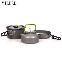 VILEAD Portable Camping Pot Pan Kettle Set Aluminum Alloy Outdoor Tableware Cookware 3pcs/Set Teapot Cooking Tool for Picnic BBQ