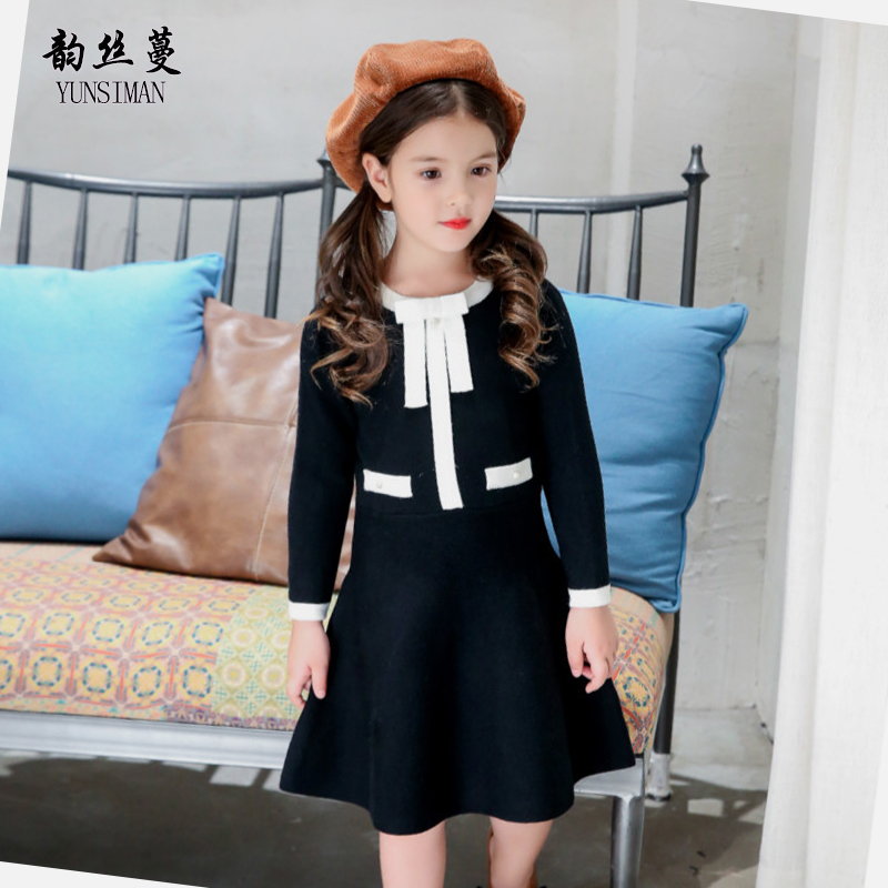Autumn Elegant Kids Girl Sweater Dress 4 6 8 10 12 to 14 Years Long Sleeve O-neck A-line Black Dresses Girls Winter Dress 56A3A smock long sleeve a line dress