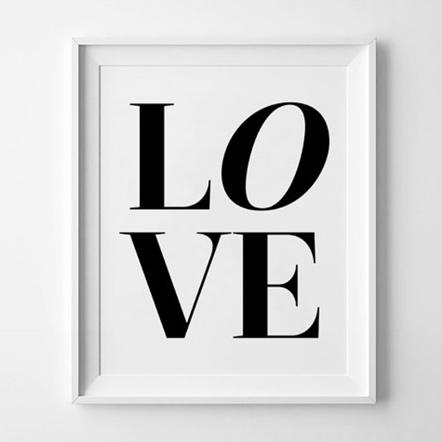 Cinta Dinding Seni Cetak Moderen Dinding Cetak Seni Hitam Putih