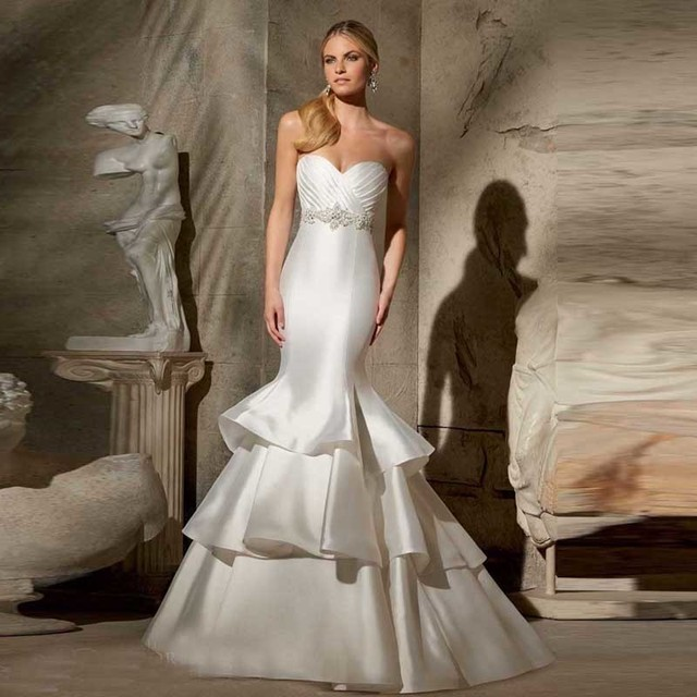 Wedding Dress Plain Style Ruffles Satin Trumpet Sweetheart Pleated Floor Length Online Bridal Gown Mermaid Corset
