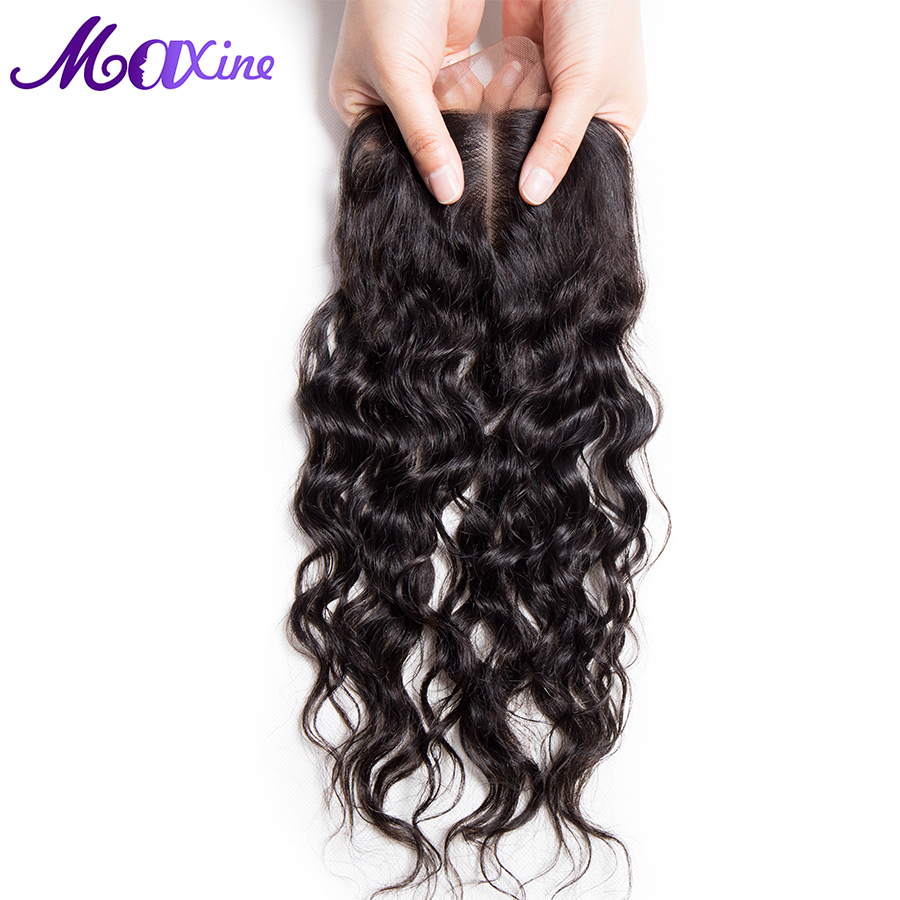 Maxine Hair Products Middle Part Style 4 x4 Water Wave Lace Closure Real Remy Human Hair