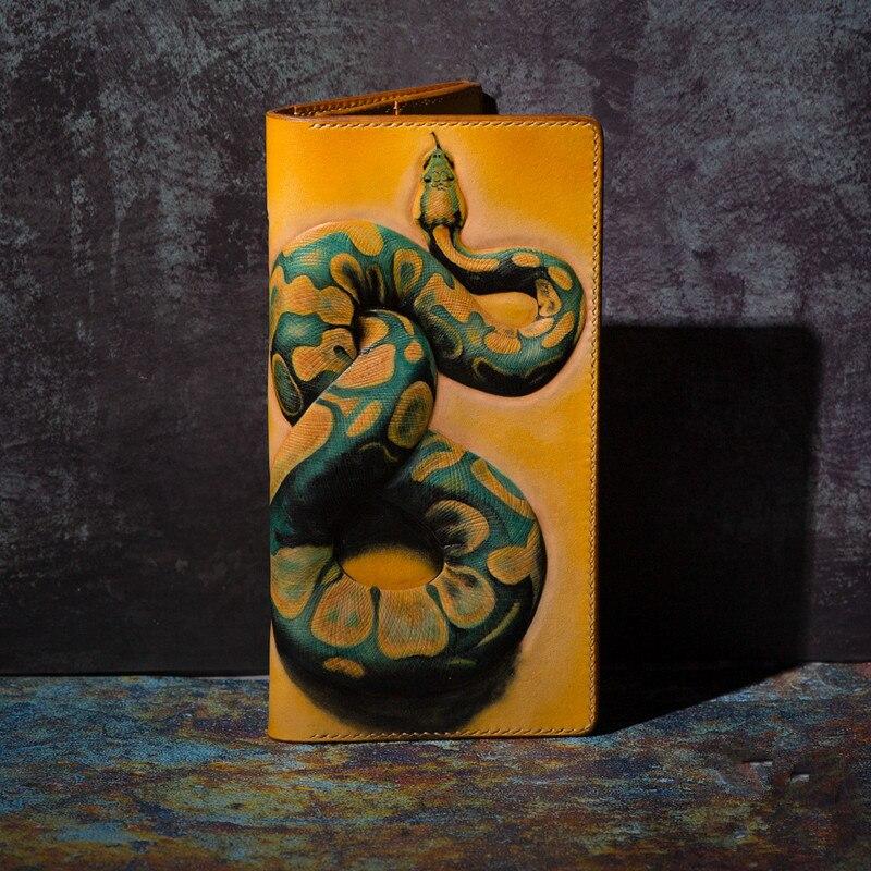 High-end Handmade Wallets Carving Python Purses Men Long Clutch Vegetable Tanned Leather Wallet Card Holder