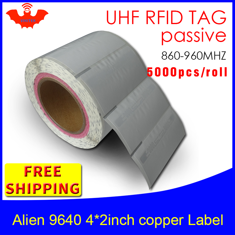 UHF RFID Tag Sticker Alien 9640 Printable Copper Label EPC6C 915m868mhz Higgs3 5000pcs Free Shipping Adhesive Passive RFID Label