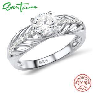 Image 3 - Santuzza conjunto de jóias para as mulheres puro 925 prata esterlina brilhante branco zircônia cúbica anel brincos conjunto simples moda jóias