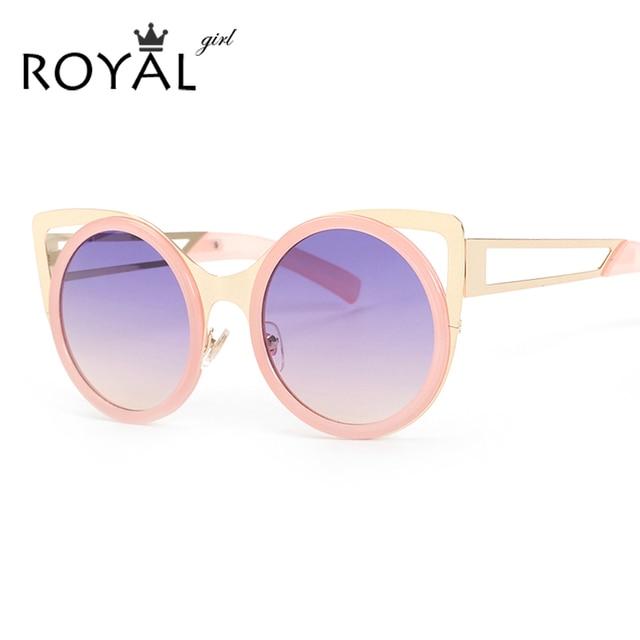f1255c1d359 ROYAL GIRL Brand Designer Women Sunglasses Chic Cat Eye Sun Glasses  Mirrored Round Glasses Shades ss087