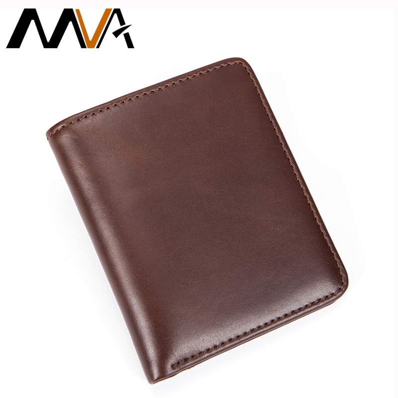 MVA Men Wallet Genuine Leather Wallet with Coin Pocket Mini Mens Wallets Slim Purses Zipper Coin Purse Credit Card Wallets