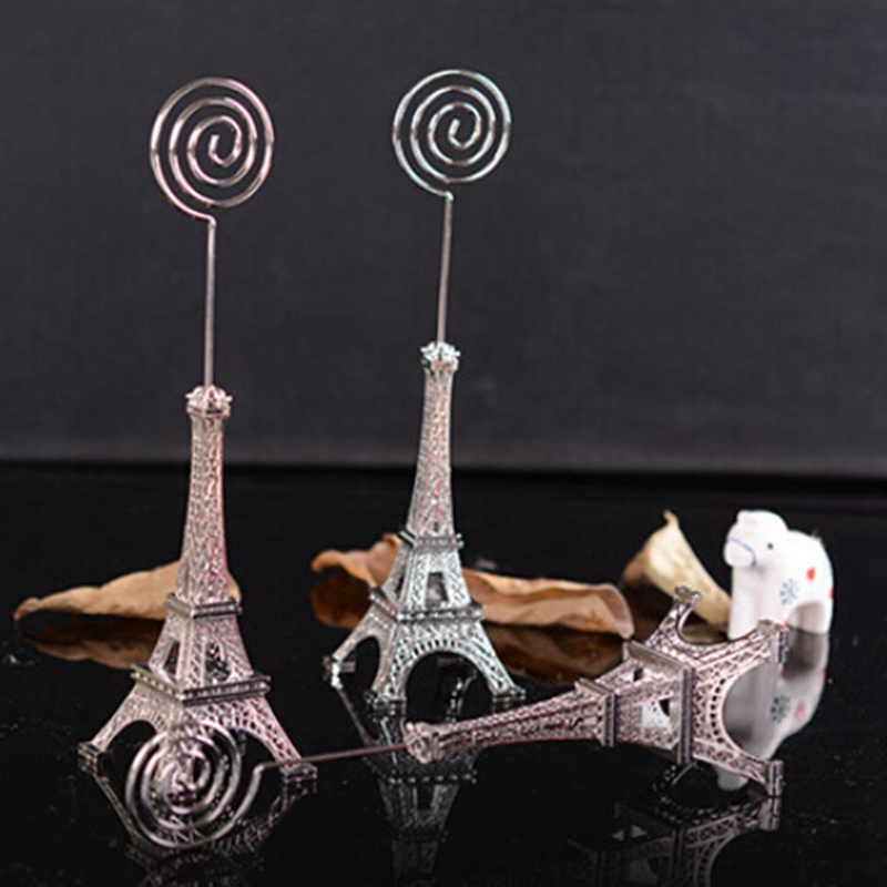 Retro Eiffel Tower Model Metal Eiffel Tower Message Folder Craft Office Table Clip Card Message Paper Memo Home Decor Miniatures