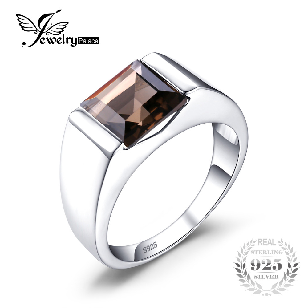 JewelryPalace 2.3CT Smoky Quartzs Wedding Rings For Men Pure Solid 925 Sterling Sliver Men Jewelry Brand New Vintage Jewelry
