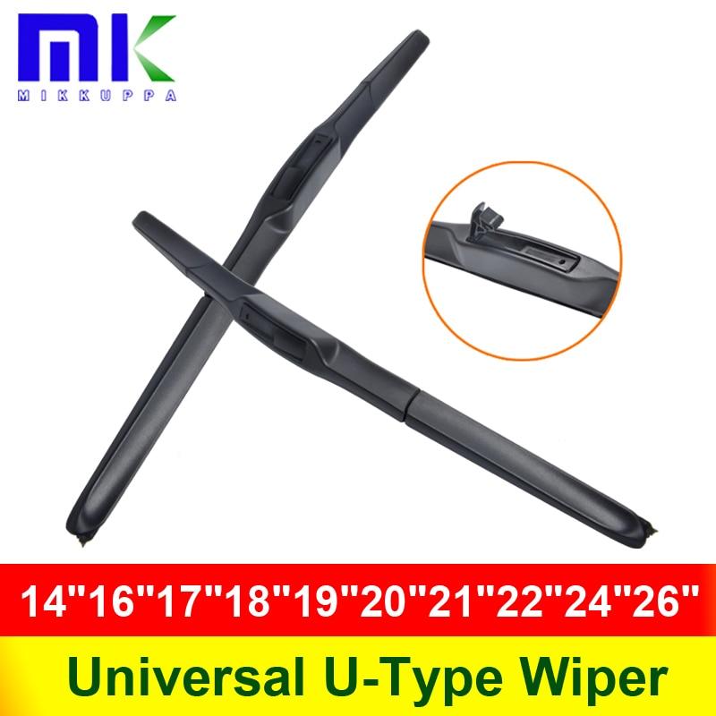 Universal U Type Car Wiper Blade 14161718192021222426 U Hook Windscreen Windshield Silicone Rubber Hybrid Auto Wipers
