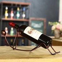 Fashion Simple Red Bottle Rack Wine Rack Ornaments Iron Frame Creative Wine Rack Storage Organizer Human Body Shape