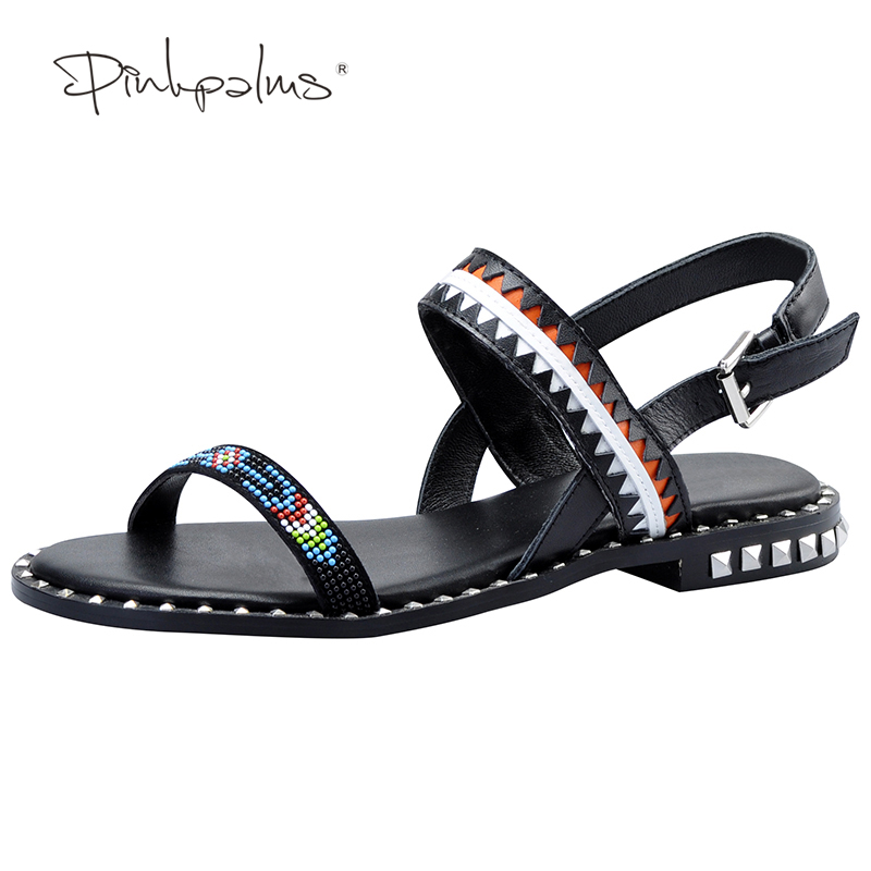 Pink Palms 2017 women summer shoes string beads flat sandals for women roman shoes metal decoration flat sandals рюкзак mi pac tropical palms tropical palms 081