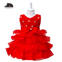 3-8Y Lace Cake Layered Girls dress  Kids Wedding Flower Girl Dress Princess Party Pageant Dress Long Sleeve Tulle Dress недорого