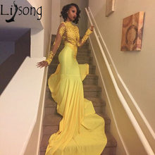 7e6b0d4d7e28 Sexy African Yellow Mermaid Prom Dresses 2018 Long Sleeves Lace Appliques Prom  Dress Long Evening Party Gowns Vestido De Festa