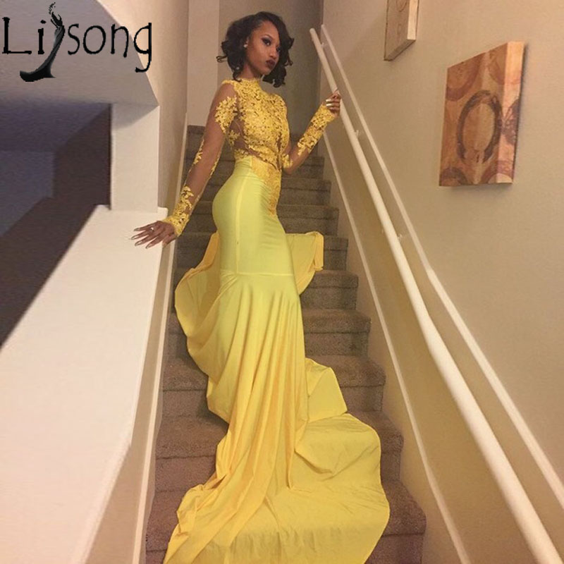 Sexy African Yellow Mermaid   Prom     Dresses   2018 Long Sleeves Lace Appliques   Prom     Dress   Long Evening Party Gowns Vestido De Festa