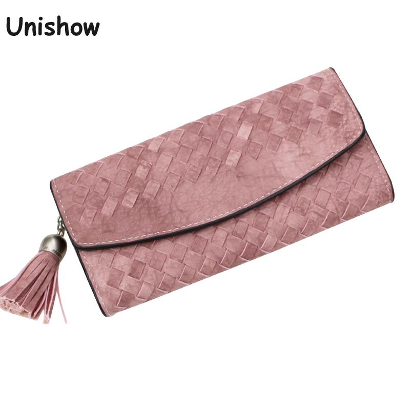 Fashion Knitting Women purse tassel women wallet long clasp female money bag brand lady wallet clutch  new Carteira Feminino yuanyu free shipping 2017 hot new real crocodile skin female bag women purse fashion women wallet women clutches women purse