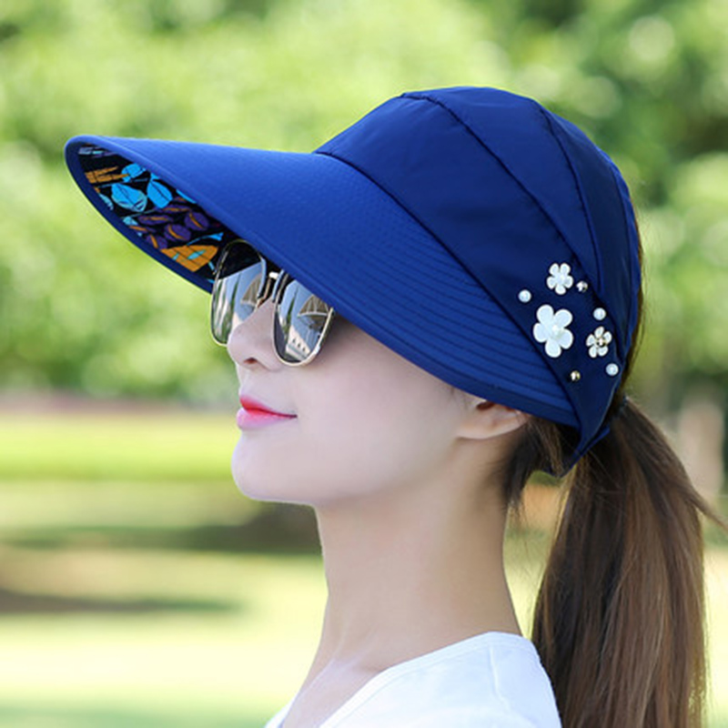2018 New Simple Women Summer Beach Sun Hats Pearl Packable Sun Visor Hat With Big Heads Wide Brim UV Protection Female Cap