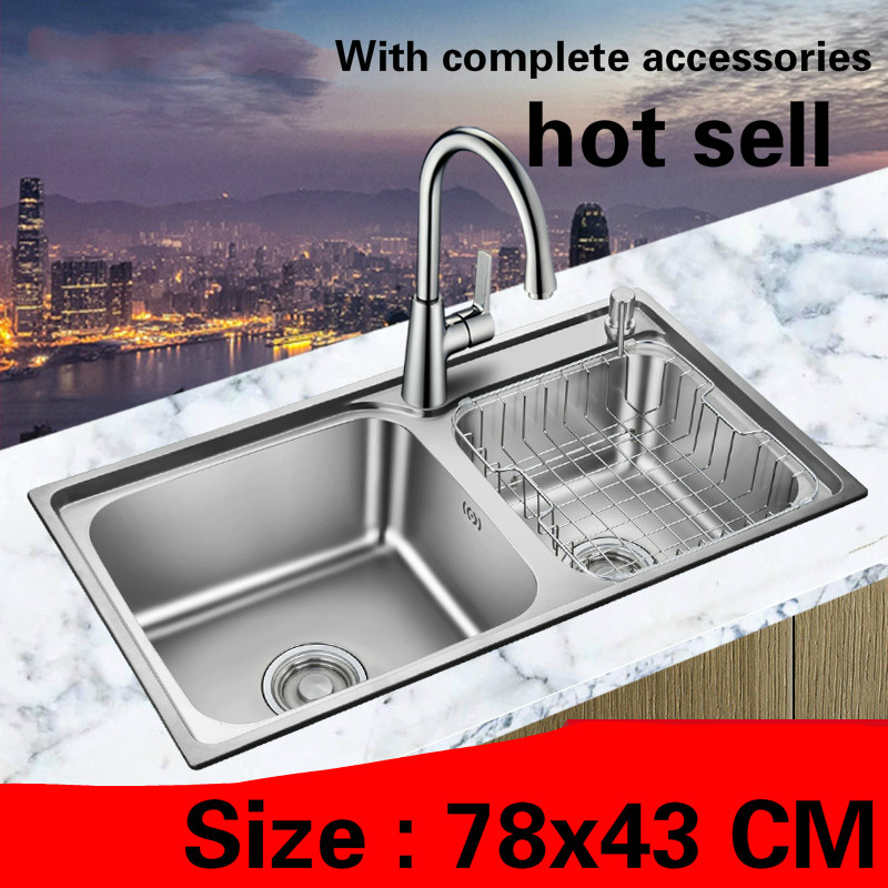 Free Shipping Hot Sell Standard Fashion Kitchen Double Groove Sink 304 Food Grade Stainless Steel  780x430 MM