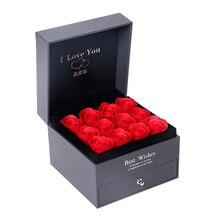 1 шт ожерелья, Подарочная коробка, искусственные двухслойные розовые цветы, коробка для любви, свадьбы, помолвки, Дня Святого Валентина, подарок, ювелирное изделие