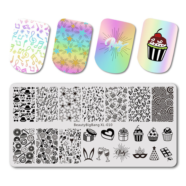 BeautyBigBang 10PCS stamping for nails 6*12cm Rectangle Nail Stamping Plates Summer Flower Nail Template Nail Stamping